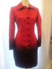 ST JOHN DRESS COAT RED & BLACK STUNNING VELVET BUTTONS SZ 4 XS/S