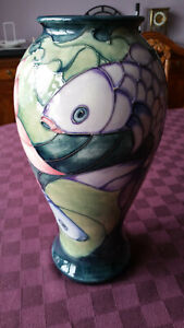 """MOORCROFT 'CARP' DESIGN VASE BY SALLY TUFFIN 1991 """"one off colourway"""""""