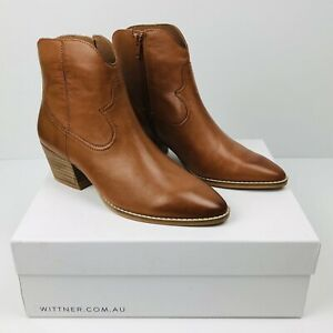 WITTNER Women's Brandy Kaelan Western Leather Ankle Boot EU 37 AU 6.5 NEW IN BOX
