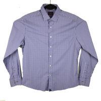 UNTUCKit Mens Purple Plaid Nylon Spandex Long Sleeve Button Shirt Size Medium