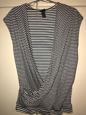 H M Purple Label Luxury Mens Cross Over Nautical  Fashionable Top Size Medium