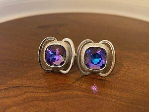 Swank Vintage Cufflinks Purple Blue Rivoli Crystal Rhinestone Silver Tone