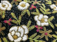 Vintage Beaded Floral Purse Handbag with Beaded Handles Black White Green Red
