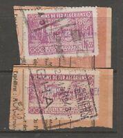 France revenue fiscal stamp 4-17 - Algeria Parcel Post on piece