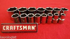 "CRAFTSMAN Socket Set 1/2"" drive SAE STD 6pt 15pcs LASER ETCHED"