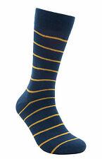 "Men Casual Seamless Cotton Socks ""Lightning"" by Rambutan Striped Blue Yellow"