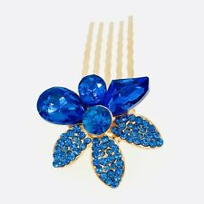 Small Flower Hair Comb Hairpin use Swarovski Crystal Bridal Wedding Blue 4-7