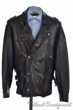 SAINT LAURENT Vintage VTG Brown Leather Mens Motocycle Moto Jacket Coat - Size 3