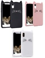 3D Cute KITTY CAT protection Skin Soft Silicone Case for iphone XS MAX XR X