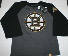 New NHL Boys Youth Boston Bruins  3/4 Sleeve Raglan Team logo T-Shirt Large