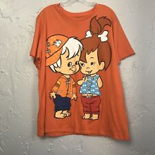 Hanna Barbera Flintstones t-shirt Pebbles & Bam Bam Size 2x Plus Orange NWT