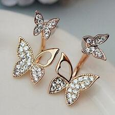 Fashion Hanging Butterfly Earrings Two Wear Crystal Stud Earrings Jewelry Women