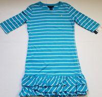 NWT POLO RALPH LAUREN GIRLS COLINA DRESS BLUE STRIPED XL(16) #48