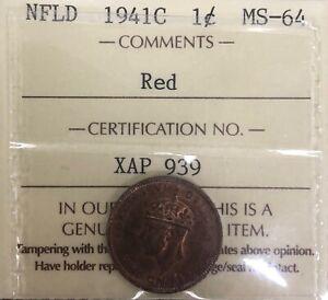 1941C Newfoundland Canada One Cent - ICCS MS-64 - #XAP 939