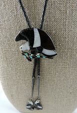 Zuni Jack Mahkee Exceptional Hungry Eagle w Snake Bolo w Mosaic Inlaid Tips
