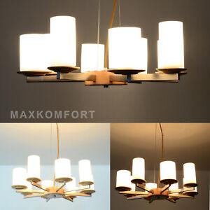 "Deckenlampe LED Pendelleuchte Deckenleuchte ""Modika"" 8FL Holz Edlestahl Lampe"