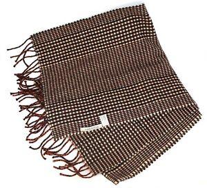 New Bottega Veneta Small Plaid Brown Cashmere Scarf