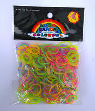 600 Loom Bands Gummiringe Loops Glow in the Dark leuchtet im Dunklen Rainbow