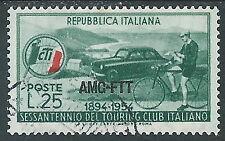 1954 TRIESTE A USATO TOURING CLUB ITALIANO VARIETà ROSSO BANDIERA - L33