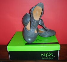 Ladies Chix Grey Studded PU Leather Heels Shoes with Straps UK3 / EUR37 Used