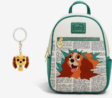 Loungefly Disney Lady and the Tramp Newspaper Mini Backpack + Keychain - NWT