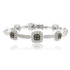 Sterling Silver 2/5ct TDW Champagne Diamond Link Bracelet