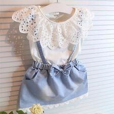 2pcs Kids Baby Girls Outfits Set Tank Top T-shirt Dress+Jeans Pants Clothes 110