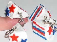 1 Miniature dollhouse CAKE 4th of july food pendant bakery phone necklace charm