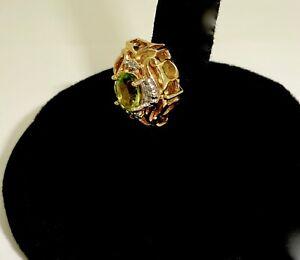 R.KLEIN KL.JCI 14K YELLOW GOLD PERIDOT DIAMOND SLIDE CHARM