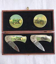 John Deere Vintage Tractor 2 Folding Pocket Knife in Wooden Box Stainless Steel