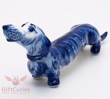 Gzhel Porcelain Dachshund dog Figurine handmade symbol of 2018 New Year