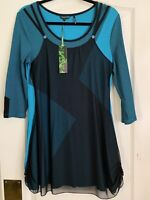 NWT Tricotto Teal Blue Black Stripe Scoop Neck Layered Tunic Top Med $138