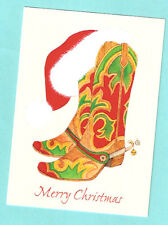 Cowboy Boots Western Santa Hat Christmas Cards Box of 18 Printed in US