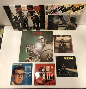 lot 7 vinyles 33 et 45 tours queen pink floyd blondie buddy holly