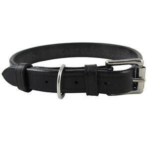 "Audenham Black 25mm/1"" English Bridle Leather & Stainless Steel Dog Collar"