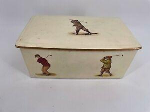 "Vtg Maitland & Smith 11"" Cream Ceramic Box Lid Golf Print Cracks Crazing Chips"