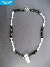 I AM HEALED Power Necklace Black Tourmaline Clear Quartz Gemstone Crystal