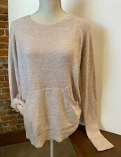 Barefoot Dreams Rose Pink CozyChic Lite Raglan Crew Top Pocket New Thumbholes