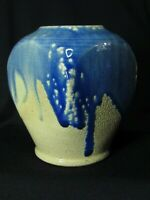 1991 Turn & Burn Art Pottery Vase Blue Drip Glaze over Tan Seagrove NC DB Garner