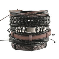 Multi-layer Leather Bracelet 1 Set Punk Wrap Bead Bangle For Men & Women Jewelry