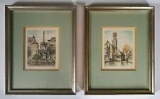 Fine Art Pair of Framed Artist Signed Miniature European Color Etchings