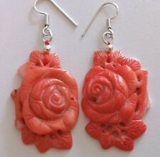 ,GORGEOUS HAND CARVED SALMON CORAL ROSE EARRINGS. NEW. 925 SILVER HOOKS.