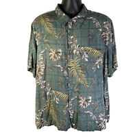 BATIK BAY Mens Size 2XL Rayon Hawaiian Shirt Green Palm Tree Print