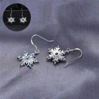 Earrings Silver Snowflake Aquamarine 925 Christmas Drop Dangle