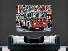 POSTER dei Vigili del Fuoco USA CAMION 911 di emergenza enegine ARTE Muro Grande New York