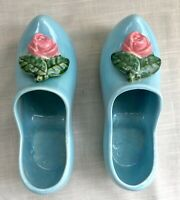 Pair of Vintage McCoy Pottery Planters, Blue Dutch Clogs/Shoes with Rose Buds