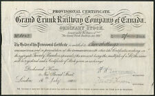 Canada: Grand Trunk Railway Co. of Canada, ordinaire Stock, provisoire cert,...
