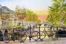 """Nuevo Y Original Alan Reed Acuarela """"Bikes, Amsterdam"""" Holandesa Holanda Pintura"""