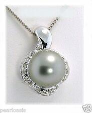 12.17MM Silver Gray Tahitian Pearl Pendant, 0.14 Ct. Diamonds, 14K W Gold, NEW