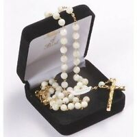 MOTHER of PEARL ROSARY Beads Rosaries GOLD Plated ROUND
